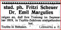 Marriage announcement, Jüdische Zeitung 1919, Vol. 39