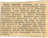 Obituary of Hans Margulies
