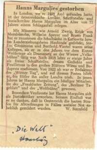 Obituary of Hans Margulies, 'Die Welt'