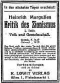 Advert. in the Jüdische Zeitung 1919, Vol. 39