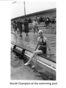 Muriel Champion at the swimming pool